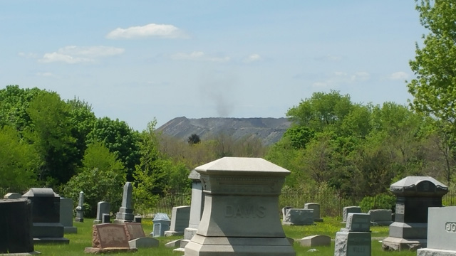 Centralia, PA - View of Smoke on Nearby Hill from Odd Fellows Cemetery
