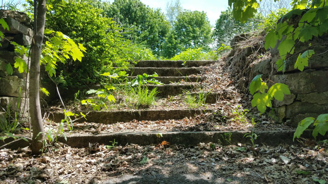 Centralia, PA - Stone Steps to Empty Lot - Close-up